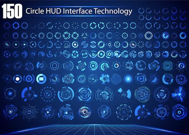 Conjunto de tecnologia digital abstrata de círculo Vetor Premium