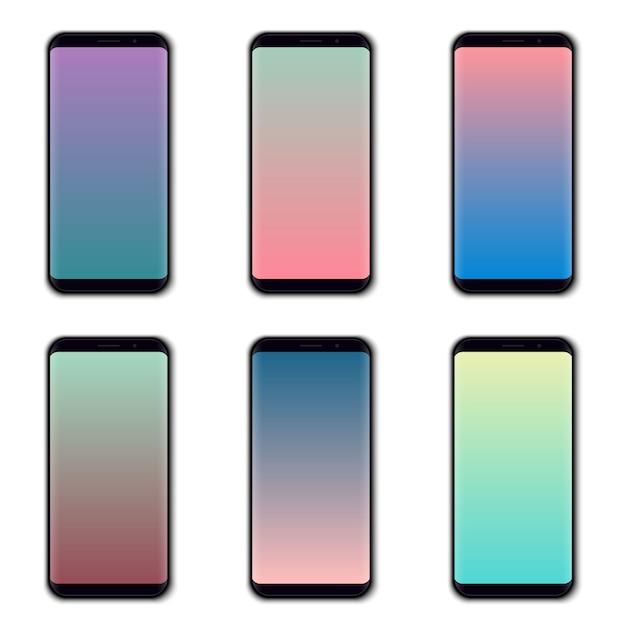Conjunto de tela colorida do telefone móvel. Vetor Premium