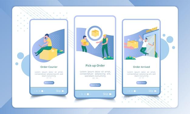 Conjunto de tela de integração enviando ordens de pacote, ilustração de serviço de entrega Vetor Premium