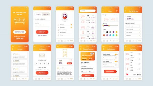 Conjunto de telas de interface do usuário, ux, gui modelo simples de aplicativo de compras Vetor Premium