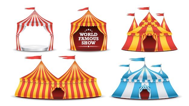 Conjunto de tenda de circo. funfair multicolorido Vetor Premium