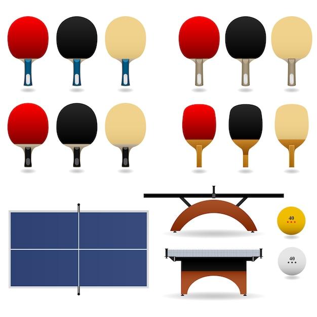 Conjunto de tênis de mesa. conjunto completo de tênis de mesa. Vetor Premium