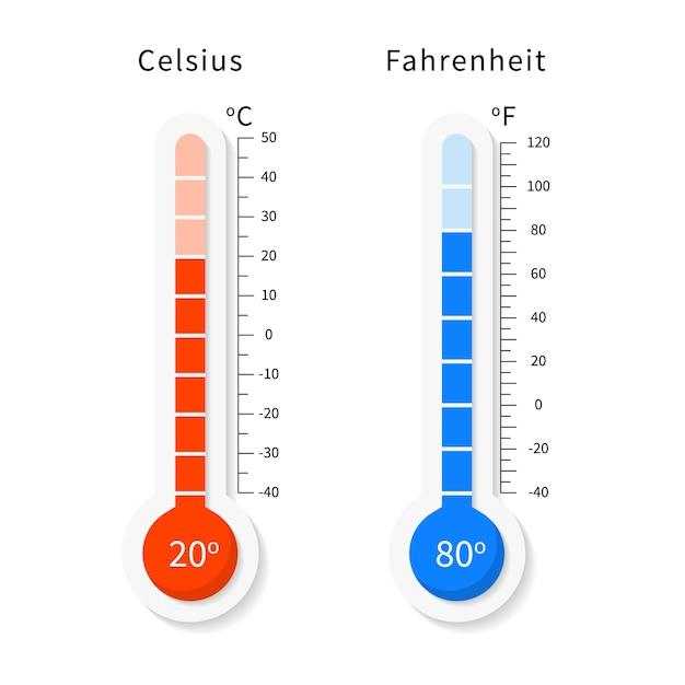 Conjunto de termômetros de meteorologia celsius e fahrenheit de vetor. Vetor Premium