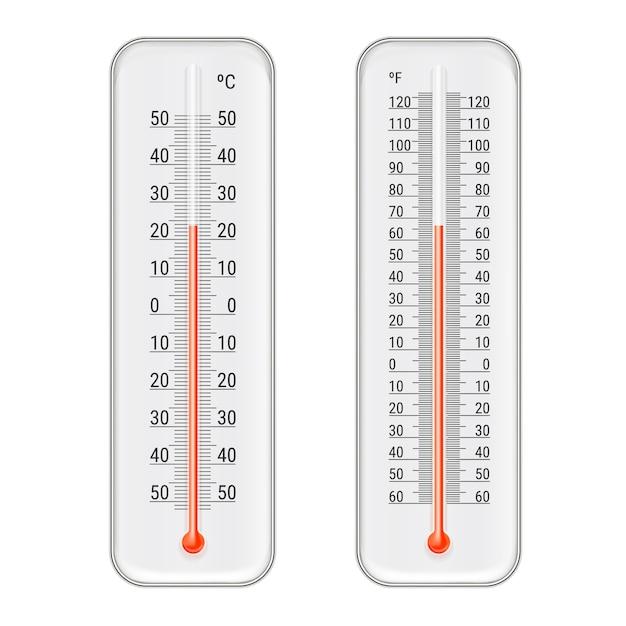 Conjunto de termômetros de meteorologia realista Vetor grátis