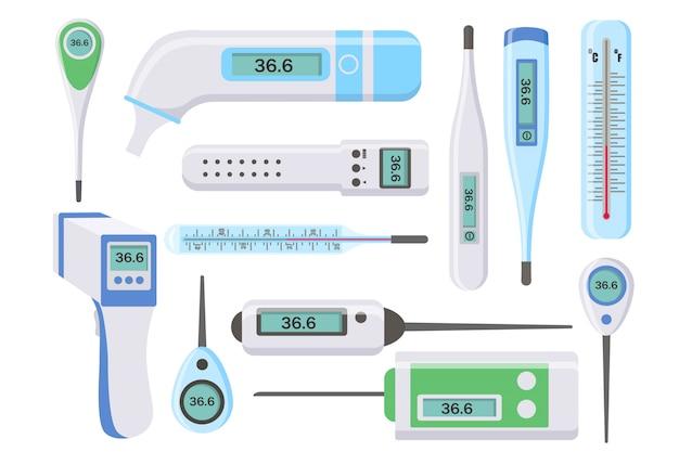 Conjunto de termômetros médicos para hospital durante coronavírus. termômetros eletrônicos, infravermelhos, líquidos, medindo a temperatura corporal, alimentos, meio ambiente. conceito de saúde e doenças. ilustração. Vetor Premium