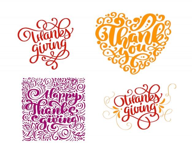 Conjunto de texto de caligrafia obrigado por feliz dia de ação de graças Vetor Premium