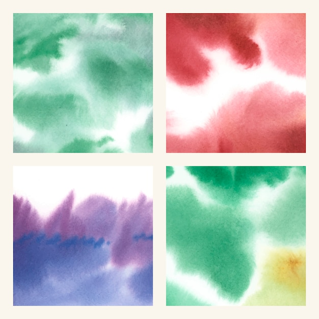 Conjunto de textura abstrata aquarela colorida mancha Vetor grátis
