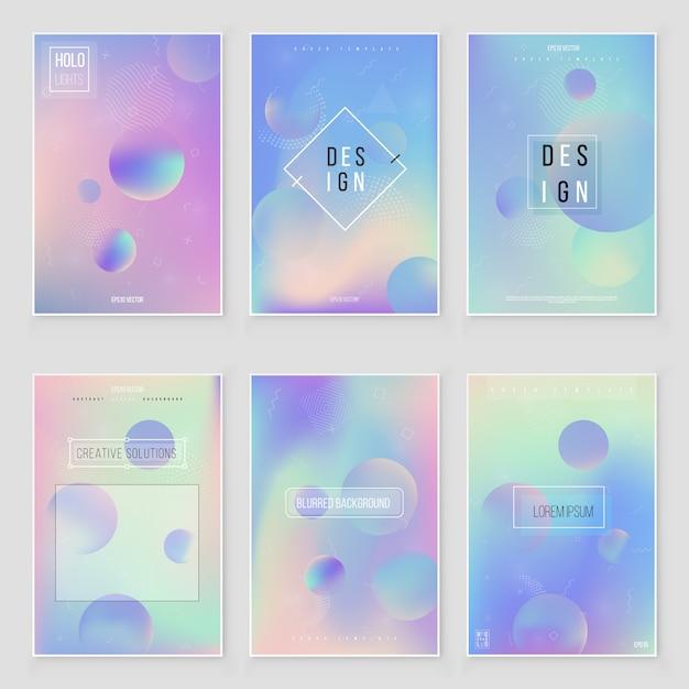 Conjunto de textura de folha iridescente holográfica abstrata tendências de estilo moderno 80s 90s. Vetor Premium