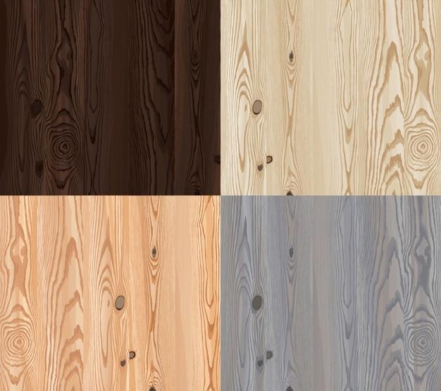 Conjunto de textura de madeira vetorial com padrão natural Vetor grátis