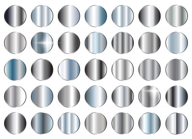 Conjunto de texturas de prata Vetor Premium