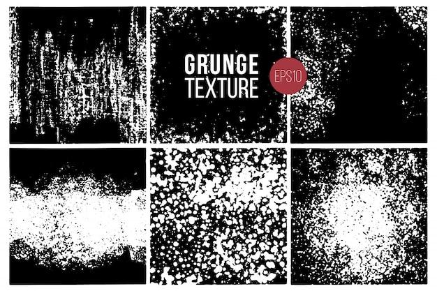 Conjunto de texturas grunge. fundos Vetor Premium