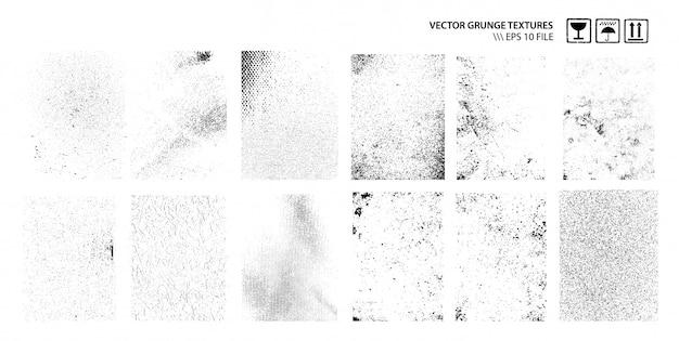 Conjunto de texturas sujas do grunge Vetor Premium