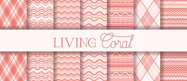 Conjunto de texturas vivendo padrões de coral Vetor Premium