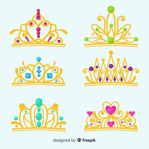 Conjunto de tiara princesa plana Vetor grátis