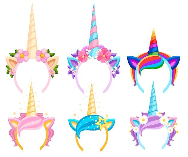 Conjunto de tiaras de unicórnio com flores e folhas. tiara de acessórios de moda. faixa de cabeça com estilo arco-íris. ilustração vetorial em fundo branco Vetor Premium