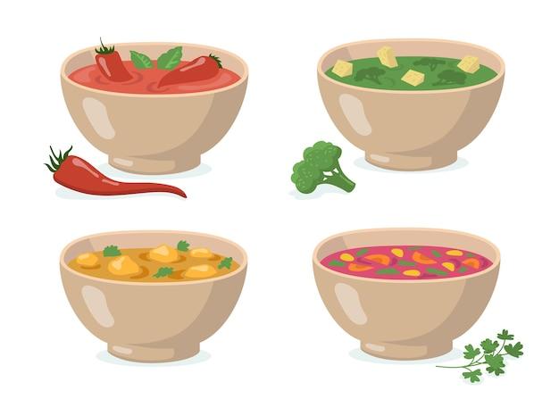 Conjunto de tigelas de sopas. gaspacho de tomate com pimenta vermelha, purê de brócolis verde, curry com cogumelos, borscht tradicional. para cozinhar vegetais, sopa de creme, comer, comida saudável Vetor grátis