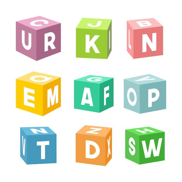 Conjunto de tijolos de brinquedo colorido com letras Vetor Premium