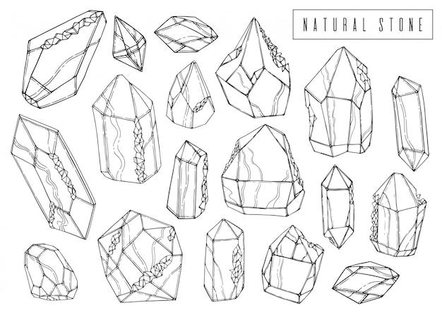Conjunto de tinta natural. coleção de cristais minerais. Vetor Premium