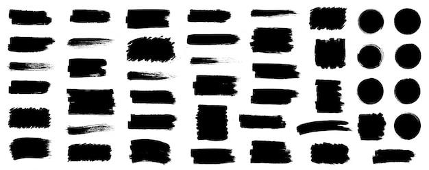 Conjunto de tinta preta, pincel, pinceladas, pincéis, linhas, molduras, caixa, grungy. coleção de pincéis sujos. caixas de tinta de traçado de pincel no fundo branco Vetor Premium