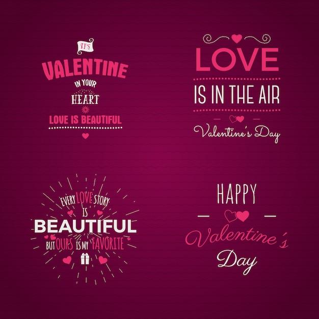 Conjunto de tipografia de dia dos namorados Vetor Premium