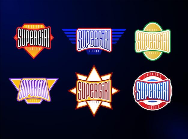 Conjunto de tipografia de emblema de esporte Vetor Premium