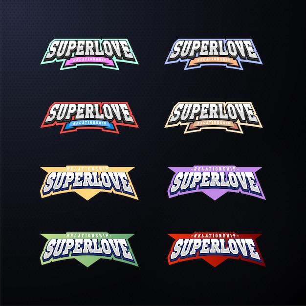 Conjunto de tipografia de emblema do esporte. Vetor Premium