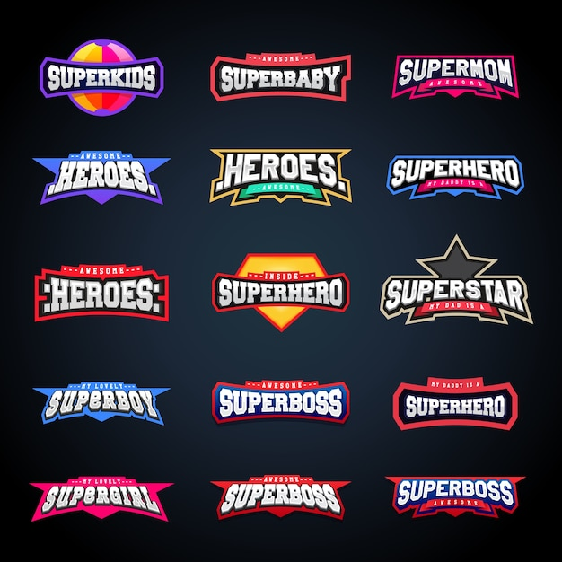 Conjunto de tipografia de emblemas esportivos Vetor Premium