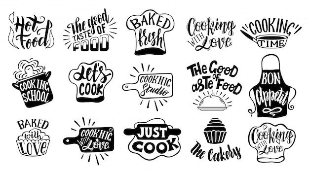 Conjunto de tipografia relacionados a cozinhar. citações sobre cozinha. cozinhar formulações. restaurante, menu, conjunto de rótulo de comida. cozinha, cozinha, ícone de cozinha ou logotipo. letras, ilustração de caligrafia Vetor Premium