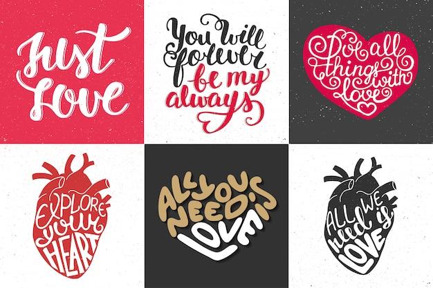 Conjunto de tipografia romântica mão desenhada Vetor Premium
