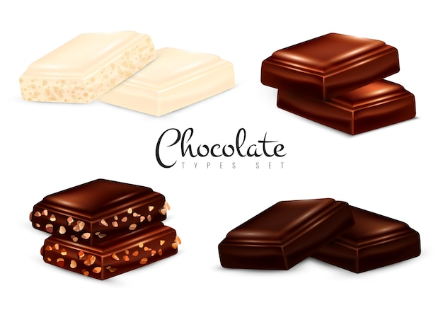 Conjunto de tipos de chocolate realista Vetor grátis