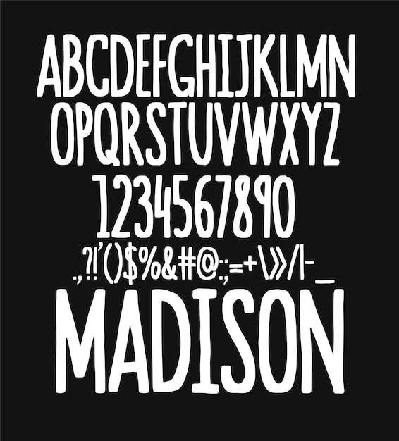 Conjunto de tipos de letra desenhada à mão. pincele personagens pintados. alfabeto de tipografia para seus projetos. Vetor Premium