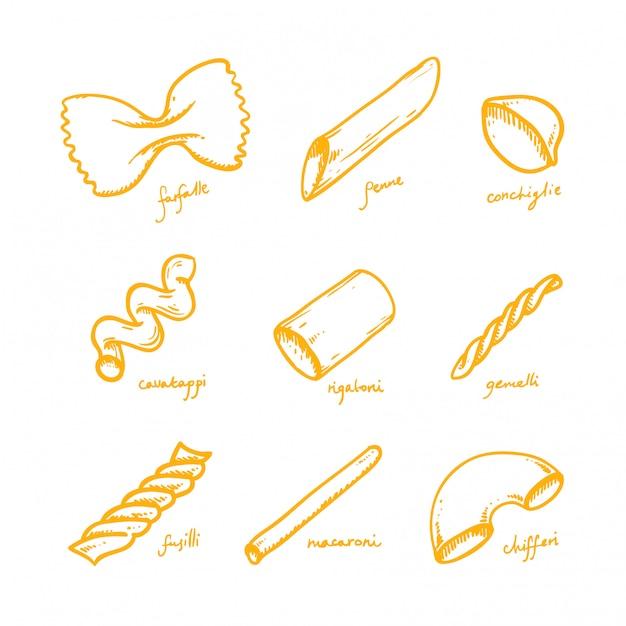 Conjunto de tipos de macarrão e macarrão de mão desenhada Vetor Premium