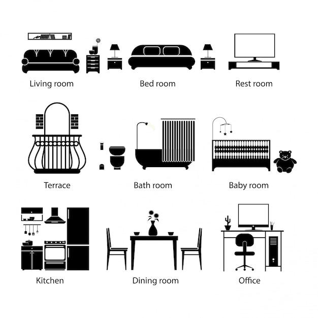 Conjunto de tipos de quarto em casa. estilo de linha fina. Vetor Premium