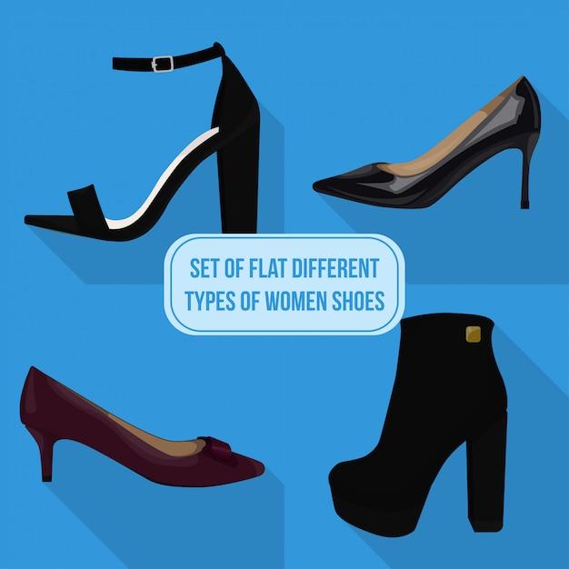 Conjunto de tipos diferentes planas de ícones de sapatos de mulheres Vetor Premium