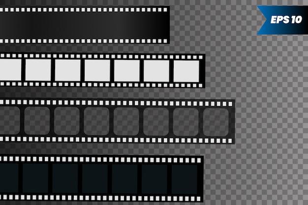 Conjunto de tira de filme isolado na transparente. Vetor Premium
