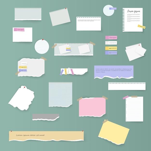 Conjunto de tiras de papel brancas e coloridas horizontais rasgadas, notas e caderno sobre um fundo cinza. folhas de caderno rasgadas, folhas coloridas e pedaços de papel rasgado. Vetor Premium
