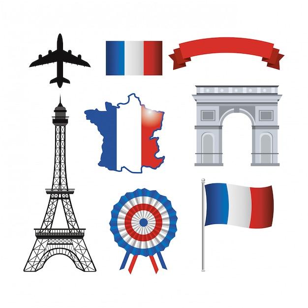 Conjunto de torre eiffel e bandeira de frança com fita Vetor grátis