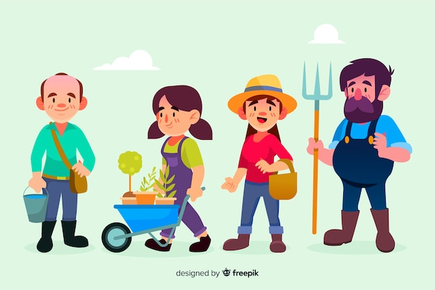 Conjunto de trabalhadores agrícolas de design plano ilustrados Vetor grátis