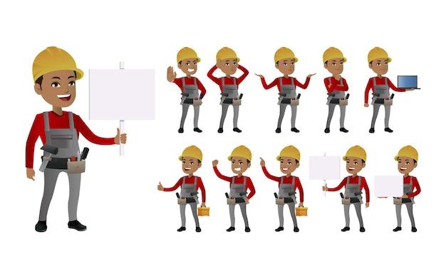 Conjunto de trabalhadores com diferentes poses Vetor Premium