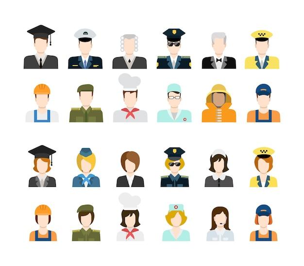 Conjunto de trabalhadores de pessoas em ícones uniformes em estilo simples Vetor grátis