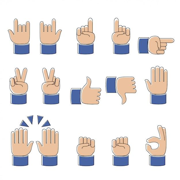 Conjunto de trabalho moderno linha de ícones de mãos e símbolos, emoji, ilustração vetorial Vetor Premium