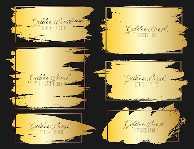 Conjunto de traçado de pincel, pinceladas de ouro grunge. ilustração vetorial Vetor Premium