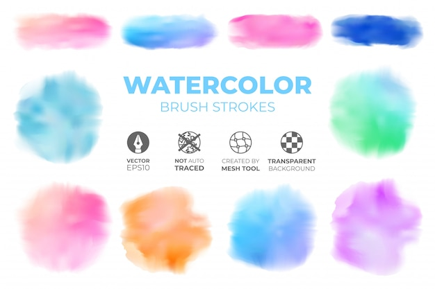 Conjunto de traçados de pincel aquarela realista colorido sobre um fundo transparente isolado Vetor Premium
