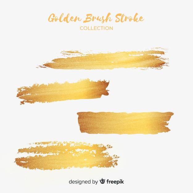 Conjunto de traçados de pincel dourado Vetor grátis