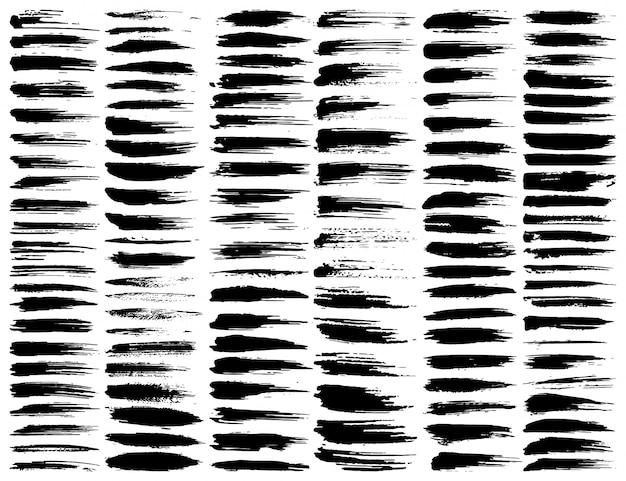 Conjunto de traçados de pincel, pinceladas de tinta preta grunge. ilustração vetorial Vetor Premium