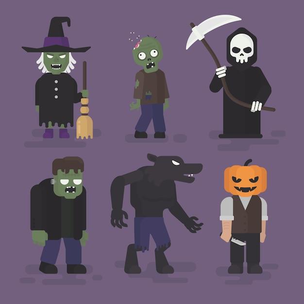 Conjunto de trajes de monstro do dia das bruxas em design plano, ilustração de personagem de halloween, bruxa, zumbi, ceifeira, frankenstein, lobisomem e abóbora Vetor Premium