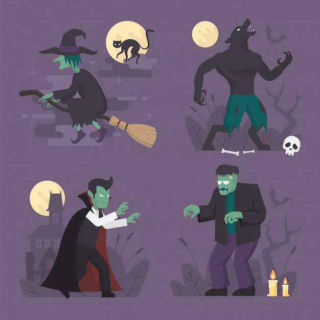 Conjunto de trajes de monstro do dia das bruxas em design plano, ilustração de personagem de halloween, vampiro, lobisomem, bruxa, frankenstein Vetor Premium