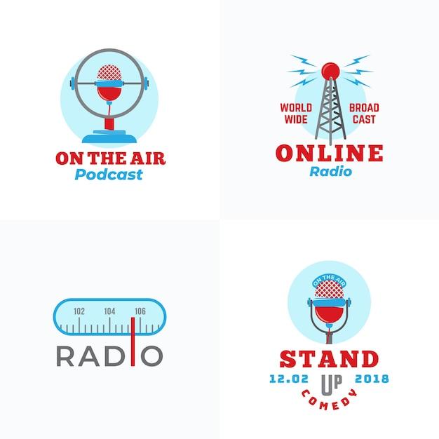 Conjunto de transmissão de rádio e modelos de logotipo de microfones Vetor Premium