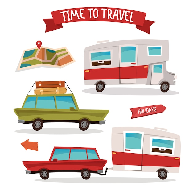 Conjunto de transporte de viagens. campista de viagens. van da família. Vetor Premium