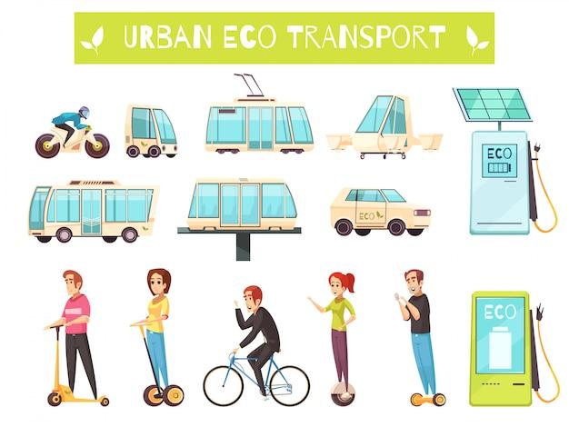 Conjunto de transporte ecológico Vetor grátis